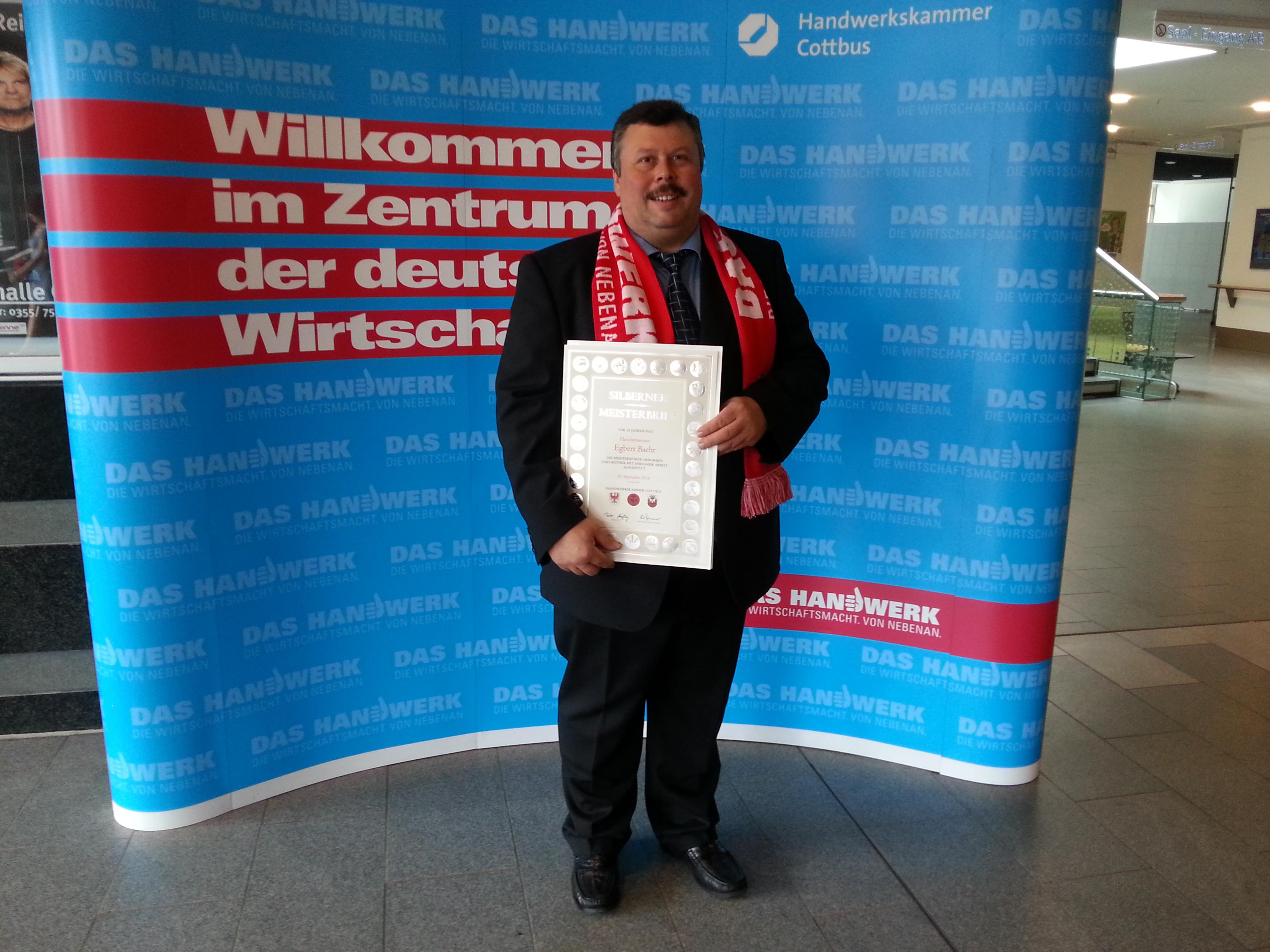 Urkunde zum 25 jährigen Meisterjubiläum 2015 in Cottbus